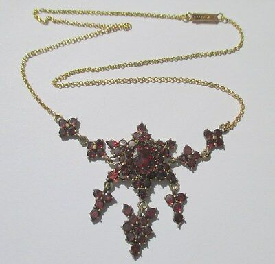 Superbe collier ancien 1900 - Grenats - French gold necklace or 18 carats 750