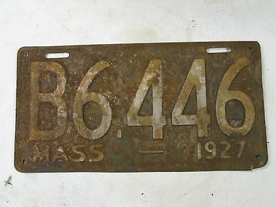 1927 Massachusetts Commercial License Plate 27 Mass Truck Tag MA B FREE Shipping