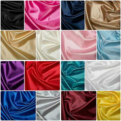 """Plain Coloured Habotai Silk Lining Fabric Polyester Material 145cm (57"""") Wide"""