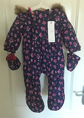 bb0cb5ae3 BNWT F&F Tesco Baby Girl Ditsy Floral Navy Pink Pramsuit Snowsuit 3-6 months
