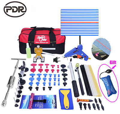 PDR Dent Lifter Kit Glue Puller Paintless Dent Repair Tool Bag Hail Removal 74pc