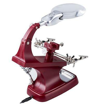 Helping Hand Soldering Stand With LED Light Clip Magnifier Magnifying Glass FA