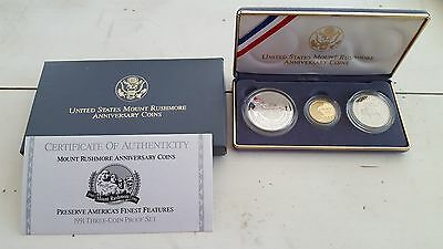 1991 Mount Rushmore Anniversary 3 coin Proof Set
