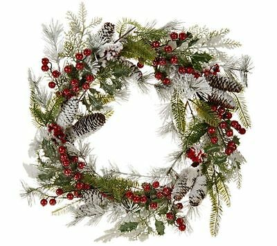 Flocked Wreath with Red Berries and Cones by Valerie -  x9007s