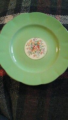 Vintage single tea plate Royal Leighton Ware green with floral centre