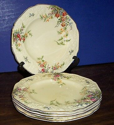 "Lot Of 4 Crown Ducal Florentine Rosalie Dinner Plates 10"" Floral Made In England"