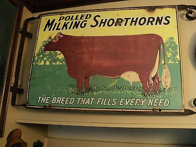 Antique 2 Sided Porcelain Dairy Cow Sign, Early 1900's Very Rare
