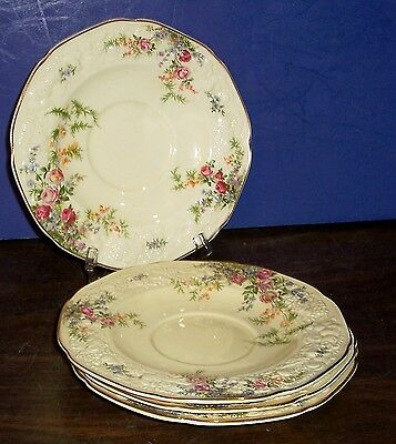 """Lot Of 4 Crown Ducal Florentine Rosalie Cream Soup Saucers 7"""" Made In England"""