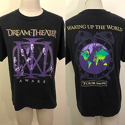 VTG 90s Dream Theater AWAKE World Tour 94/95 Concert T Shirt M/L Band Picture