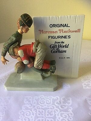 Vintage NORMAN ROCKWELL Football Tackle Figurine 1976 Fine art piece GIFT NICE!!