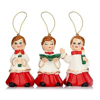 Mr Christmas porcelain ornament BOY CHOIR set of 3 new in box for tree hanging