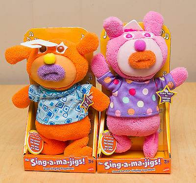 2 x The singamajigs Mattel Talking Singing Plush Toy Pink Orange Sing A Ma Jig