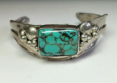 J5874 Awesome Signed Navajo Modernist Sterling Spiderweb Turquoise Cuff Bracelet