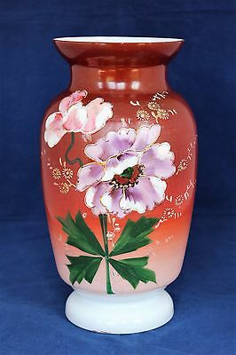 Antique Victorian Bristol Large Vase Opaline Glass Hand Painted Flowers on brown