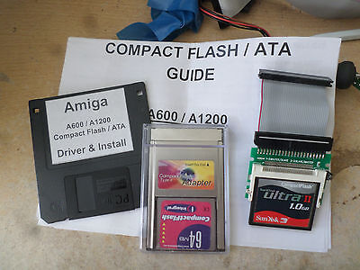 Amiga CF Hard Drive for A1200/A600 complete package disk IDE Board+lead+CFAdapt