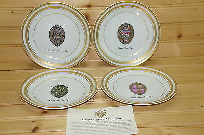 "Faberge Imperial Egg Collection (4) Bread & Butter Plates 6""-Cameo-Rose Trellis+"