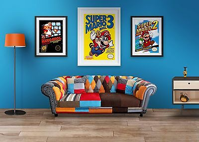 Super Mario 1, Super Mario 2 and Super Mario 3 Retro Gaming Posters