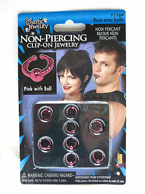 8 Eight Non-piercing clip-on Jewelry pink / rose color with ball bdsm version