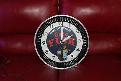 "1930-40's Vintage Fisk Tires ""Time to Retire"" Electric Neon Ad Spinner Clock"