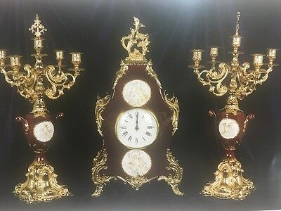 C982 Watch With Bronze And Porcelain Candelables Limoges Style