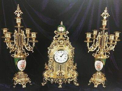 C984 Clock With Bronze Candelables Golden Inserts Limoges Style