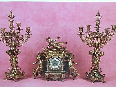 C987 Brands Candelabra  Clock  With Golden Pocket