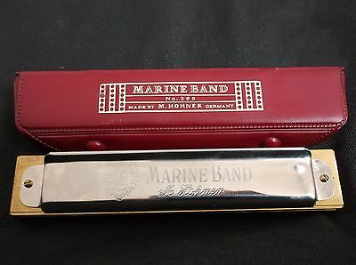 Marine Band M. Hohner Harmonica 365 C Key/ 28 / 14 hole Made in Germany w/ case