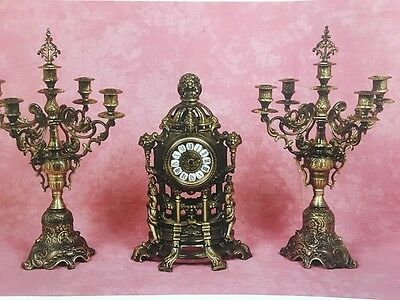 C992 Tryptic Clock With Candelabri 5 Fiber Bronze Cesellato