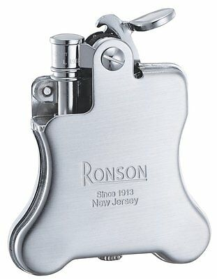 New Ronson Banjo Stylish Design Oil Lighter Japanese Made in JAPAN Chrome Satin