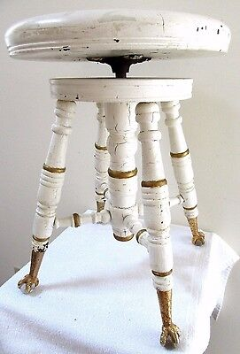 Antique Merriam Victorian Wooden Piano Stool Rare Glass Ball Feet Swivel 1890