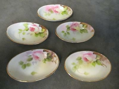 G7 Handpainted Nippon 5 Porcelain Pink Rose Salt Dishes