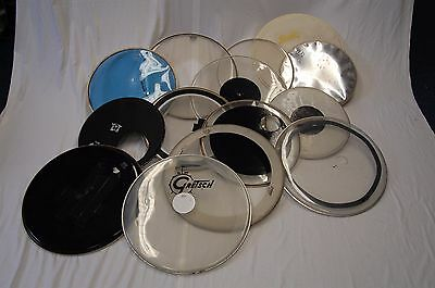 "Lot of 14 Used Bass drum Heads / Skins - 22"", 20"" and 18"""