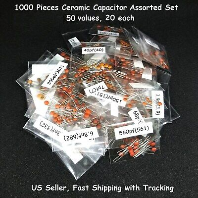 1000 pcs Ceramic Capacitor Assorted kit Assortment Set 50 Values 50V - US Seller