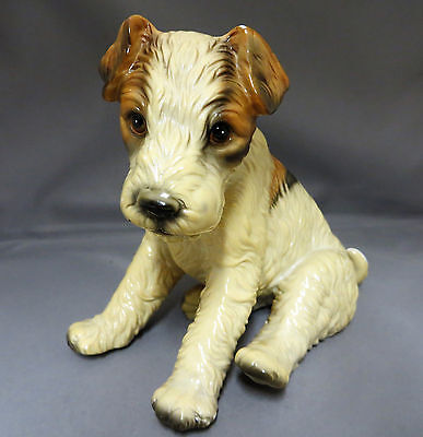 "Sitting Wire Hair Fox Terrier Puppy Dog Lg Figurine 6.5"" Royal Crown Japan Gloss"