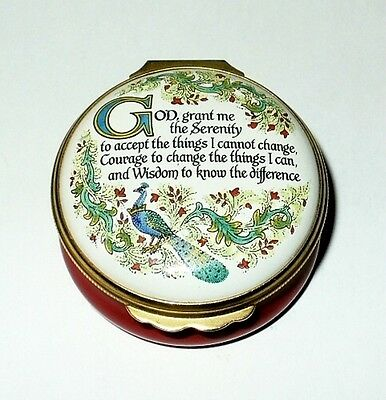 Halcyon Days Enamel Box- Serenity Prayer -Horchow Collection- Peacock & Flowers
