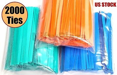NiftyPlaza 2000 Twist Ties 4 Inch Length Plastic Coated No Rip Paper Ties Cello