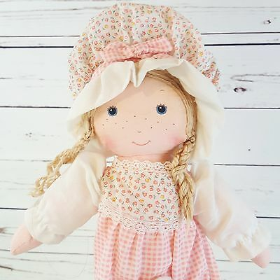 """Vintage 1978 Holly Hobbie Carrie Doll By Knickerbocker with Pocket Kitty Cat 13"""""""