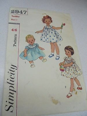2947 Simplicity Toddlers Dress- Size 1  Vintage Sewing Pattern