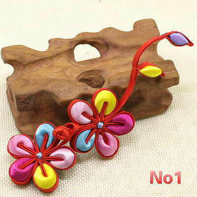 1x Large 3D Floral Satin Frog Button Fasteners Knot Closure Party Dress Deco Red