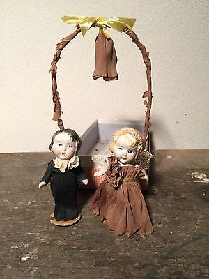 """Vintage Antique Jointed 3"""" Bisque Japan Bride Groom & Arch Wedding Cake Toppers"""