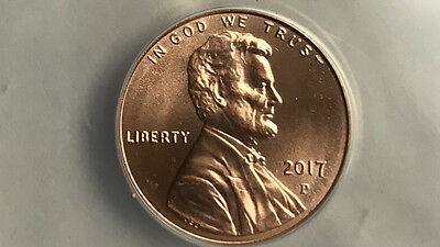 "2017 P Lincoln 1C Ms67 Red 1St Use Of ""p"" Mm In History Of Lincoln 1C  Ms 67"