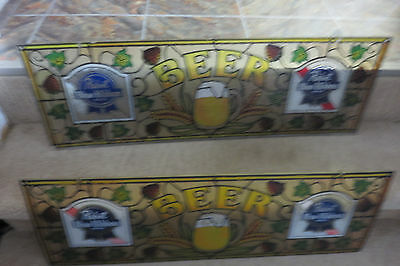 1990s Vintage Set of 2 Pabst Blue Ribbon Beer Stained Glass Look Window Signs