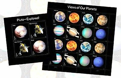 2016 USPS EIGHT PLANETS & PLUTO 2 STAMP BLOCKS (20 Stamps) COMBINATION