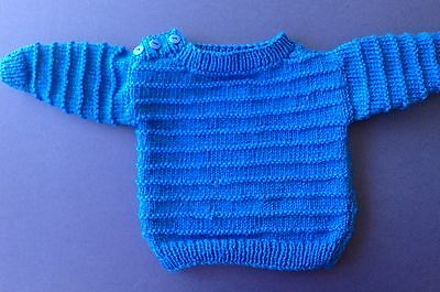 New hand knitted baby Jumper. Blue. Sz 0. Save post on 2 items