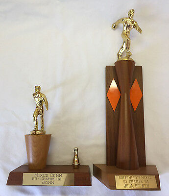 2 Early1960s Bowling Trophies Wood Bases Metal Male Toppers