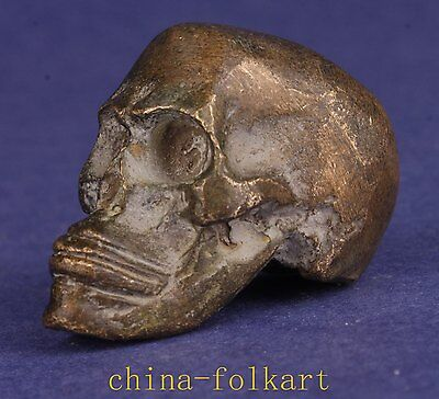 Bronze Statue Solid Casting Small Skull Figurines Decorated Exorcism Collectable