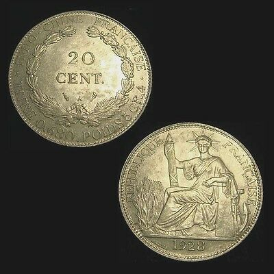 FRENCH INDOCHINA. 20 CENTIMES 1928. Choice! Scarce.