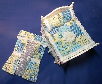 12th SCALE BLUE PATCHWORK MATCHING DOUBLE BED SET & CURTAINS