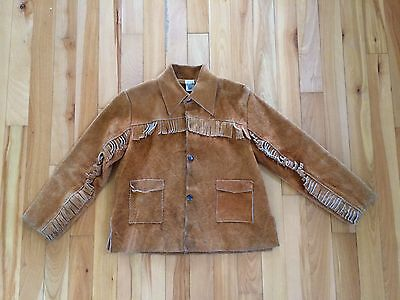 Vintage Davey Crockett Jacket Boys Childs Lg. Suede Leather Fringed Cowboy SEARS