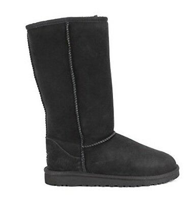 Ugg Boots Black Tall Classic Australian Sheepskin Cowhide Leather Mens Ladies